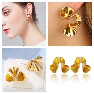 Gold Exaggerated Metal Spiral Irregular Earrings